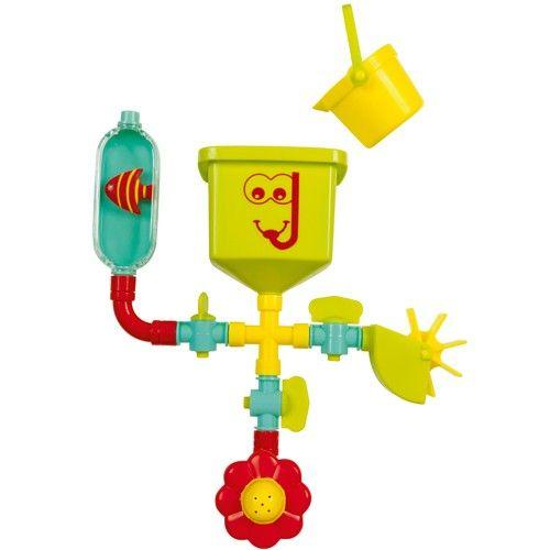 Ce jeu de bain, le petit plombier, fonctionne sur le principe d'un réseau de tuyaux équipés de robinets. Quand l'enfant ouvre les robinets, l'eau versée dans le réservoir entraîne l'ailette, gicle de la fleur et le poisson monte dans son bocal. Il peut également fermer un des trois robinets pour que l'activité associée cesse de fonctionner. L'enfant s'amuse et comprend, par le jeu, la relation de cause à effet. Quand l'enfant grandit, il continue son apprentissage de la plomberie en…