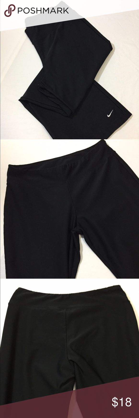 "Nike women's poly/spandex pants Nike women's poly/spandex pants straight leg with logo on bottom left leg EUC measures approx 15"" across with 23"" inseam Nike Pants Track Pants & Joggers"