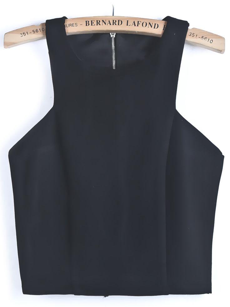Black Backless Crop Vest