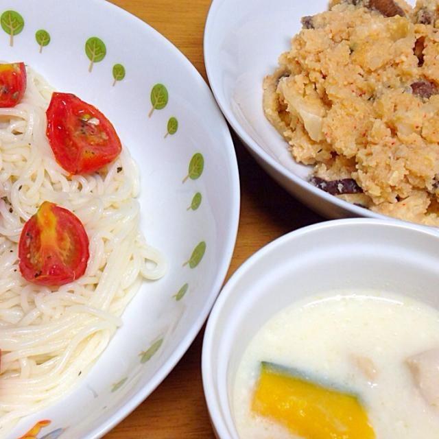 ⚫︎カッペリーニ風そうめん ⚫︎おからキムチ ⚫︎鶏肉、南瓜のスープ - 10件のもぐもぐ - 2014.08.28 by amagishinjyu