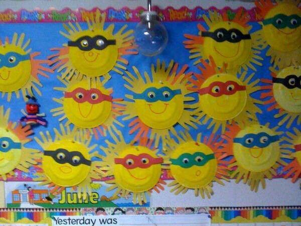 Handprint suns with sunglasses