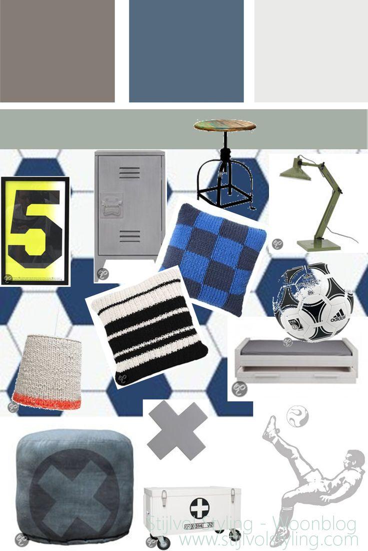 Interieur | Kinderkamer in stoere voetbal + denim stijl