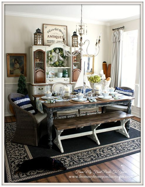French Farmhouse Nautical Dining Room  Welcome Home Summer Tour