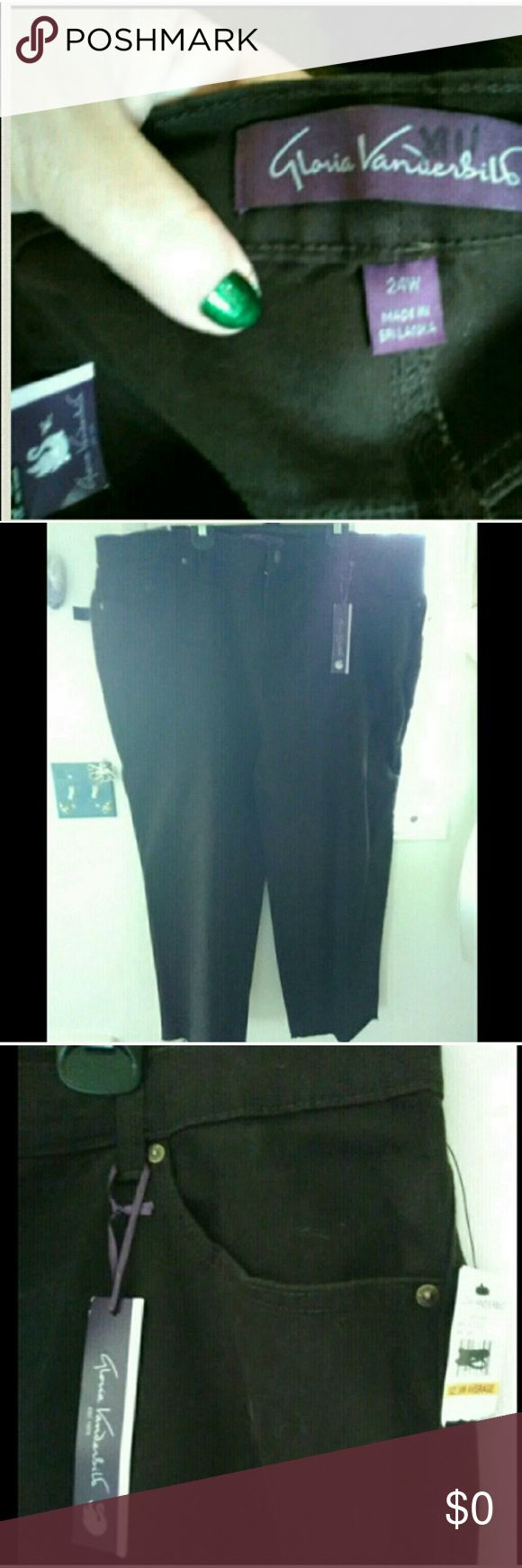 """NWT JEANS 24W Gloria Vanderbilt dark brown PANTS NEED SOMEONE THAT SEWS, SEAMSTRESS, BOTTOM LEGNTH HAS BEEN CUT OFF SOME BUT NOT SEWN. PIC #8. Size 24W, Very dark brown Gloria Vanderbilt jeans. Inseam 23"""", labeled average, waist 46"""" contact me w/ any questions. 2 pockets in the back & front. Cute little swan on 1 front pocket. Very dark brown jeans. I took them outside in photo #7 to try to get there color in the sunlight. I did not see any flaws on these besides the bottom that needs sewn…"""