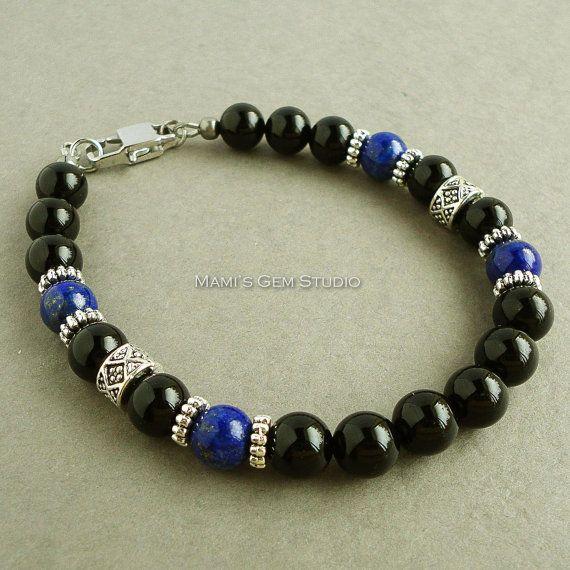 Black Onyx and Blue Lapis Gemstone Mens Bracelet - Handmade Jewelry for Men, Guys, Him, Dad