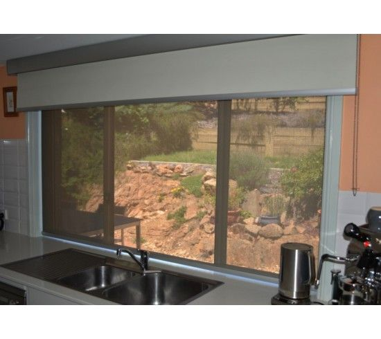 Simon and Jane - Double Roller blinds with Pelmet; Clearview Charcoal/Sand Sunscreen with Vibe Xtra Spirit Blockout