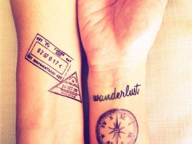 Ideias de Tatuagem Masculina Pequena | Passaporte e Bússula no Pulso
