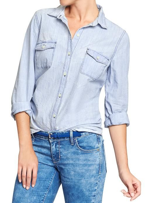 Womens classic chambray shirts spring summer style for Denim shirt women old navy
