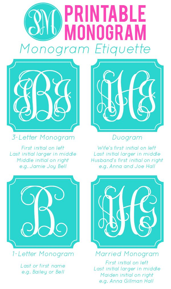 Monogram Etiquette, like this page!        - but DON'T download the monogram maker on home page as it has spyware.