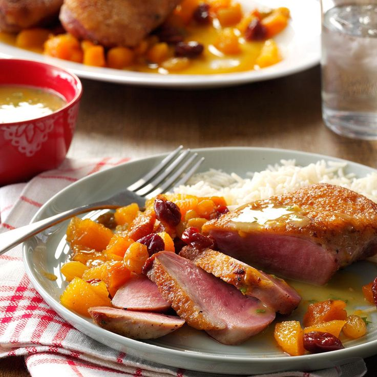 Duck Breasts with Apricot Chutney Recipe -When serving this entree as part of a buffet, try using chafing dish to keep it warm. —Taste of Home Test Kitchen