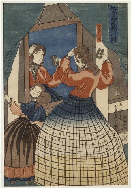 Hashimoto Sadahide   Les commerçants étrangers de Yokohama : la Française   1861