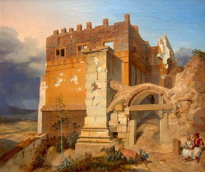 """H είσοδος της Ακρόπολης"" του Carl Wilhem von Heideck, 1835. Συλλογή Neue Pinakothek, Μόναχο   ""Acropolis entrance"" by Carl Wilhem von Heideck, 1835. Neue Pinakothek collection, Munich"