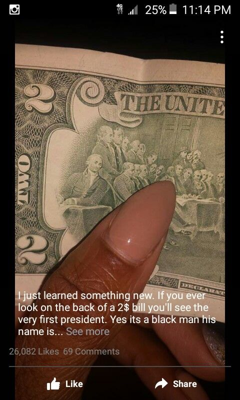 Black president john hanson...I wonder if this is why the $2 bill is not in circulation.......