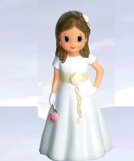 Figura niña Comunión fajín beige con flor [60-1690] - 1.30€ : Cosas43, detalles y regalos para los invitados, boda, comunión y bautizo, regalos infantiles