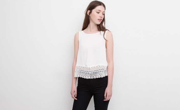 Pull&Bear - dames - blouses en hemden - top met kanten zoom en v-hals rugpand - ijs - 09471304-V2015