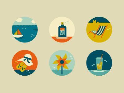 Summer icons / Flat Design #flat #design #icons