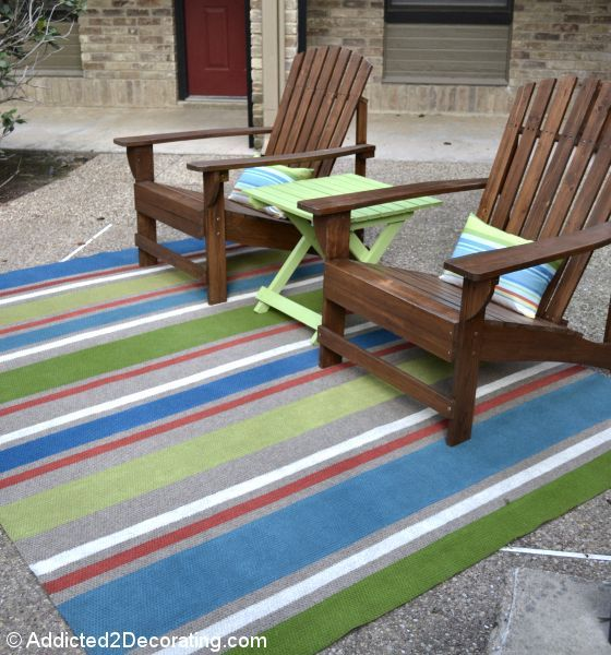 Take cheap outdoor rug and paint it using leftover latex paint. 1 day backyard projects
