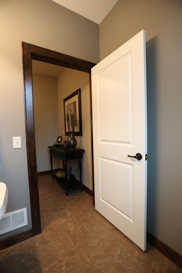 Interior Doors | 2 panel white molded door with dark casing and base trim | Bayer Built Woodworks