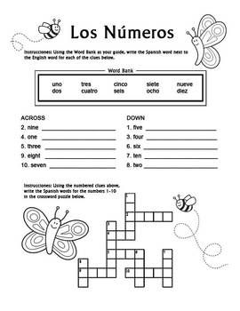 Los Numeros - Spanish Numbers 1-10 Crossword Puzzle ...