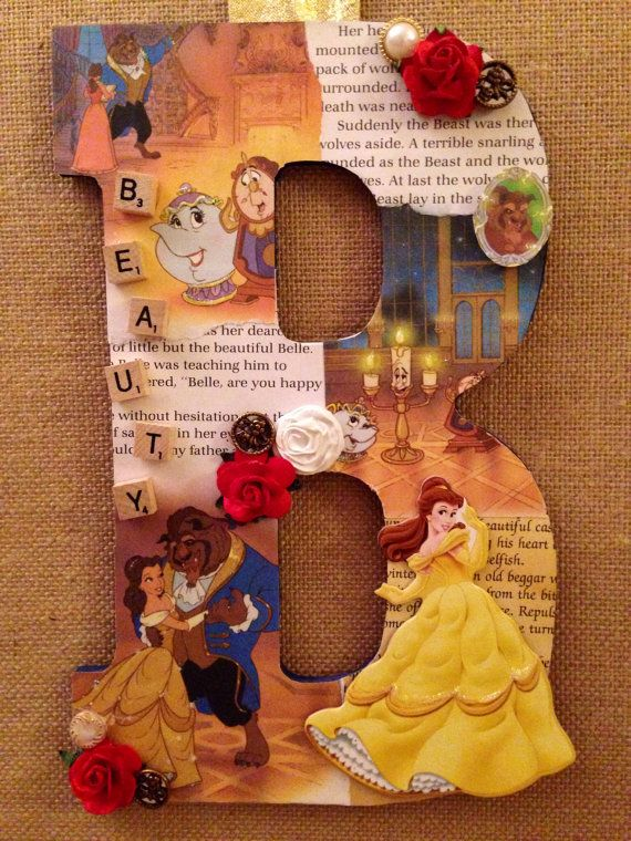 Any Letter in Beauty and the Beast -Disney themed wooden letter decor- custom made Read More at: drix34.blogspot.com