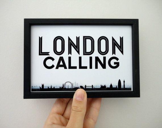 London Calling Art Print Black and White by SacredandProfane, $9.00