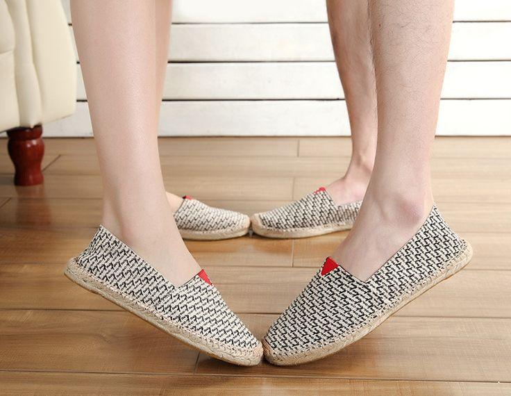 Goedkope Fashion stijl mannen & vrouwen liefhebbers flats canvas hennep stro loafers platte schoenen espadrille unisex zomer slip op, koop Kwaliteit instappers rechtstreeks van Leveranciers van China: maattabel
