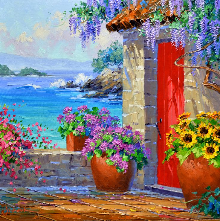 Art inspiration! Cottage by the sea. I love the colors.  SJ9014 Captivation of the Coast 14x14