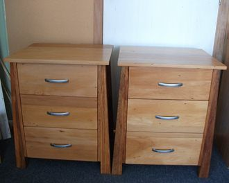One pair of recycled Rimu bedside tables made in a new modern style.