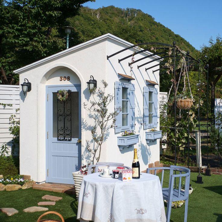 【楽天市場】小屋/塗り壁物置/おしゃれな物置 Chambrette シャンブレット1.5 選べるカラー:グリー・クレール:フルール