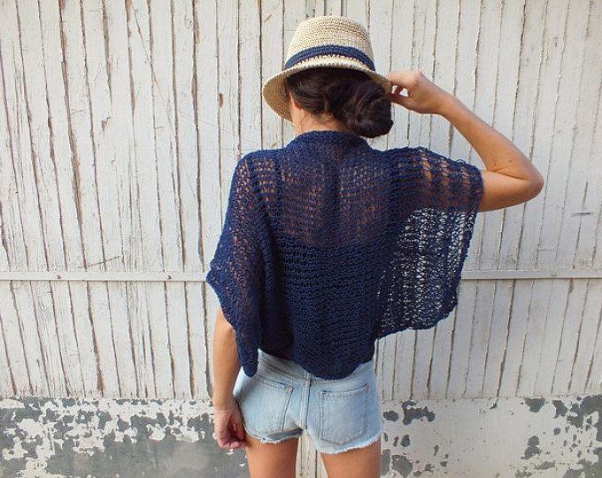 Punto azul marino se encogen de verano encogimiento de hombros sueltos shrug de verano algodón encubrir playa