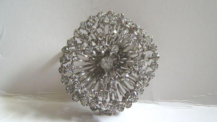 Vintage Huge Pinwheel MAJOR sparkle Tiered White Clear Rhinestone Brooch  | eBay