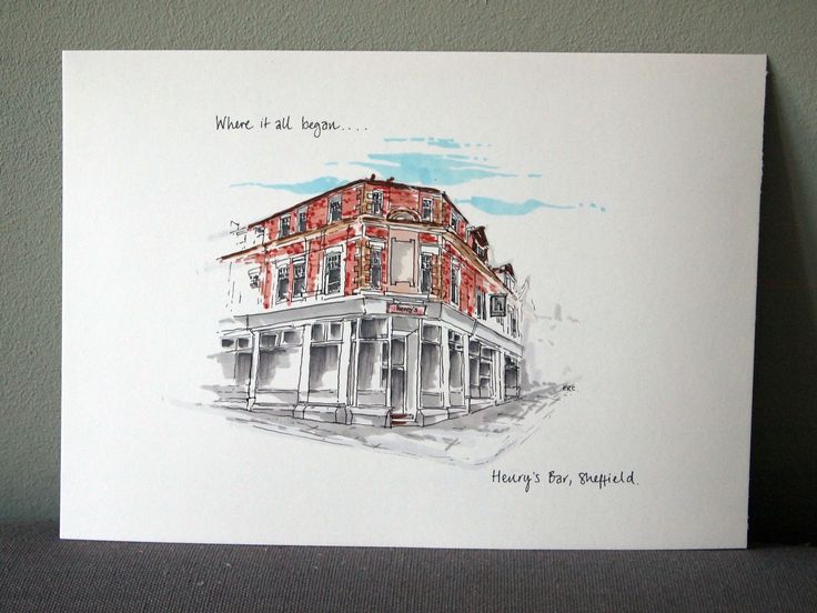 First+Date+'Where+it+all+began'+Hand+Drawn+Illustration, £53.00