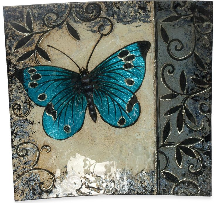 Butterfly Square Plate (Set of 3)