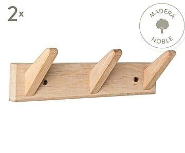Set de 2 percheros de pared de madera de roble Daiki