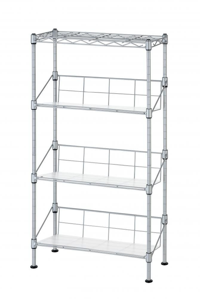 """New Silver 4-Tier Media Rack CD Rack Stand Racks Organizer Storage Rack. Simple Assembly, No Tools Required. Dimensions: 8"""" x 18"""" x 32"""". 4 adjustable-height shelves. DVD Storage."""