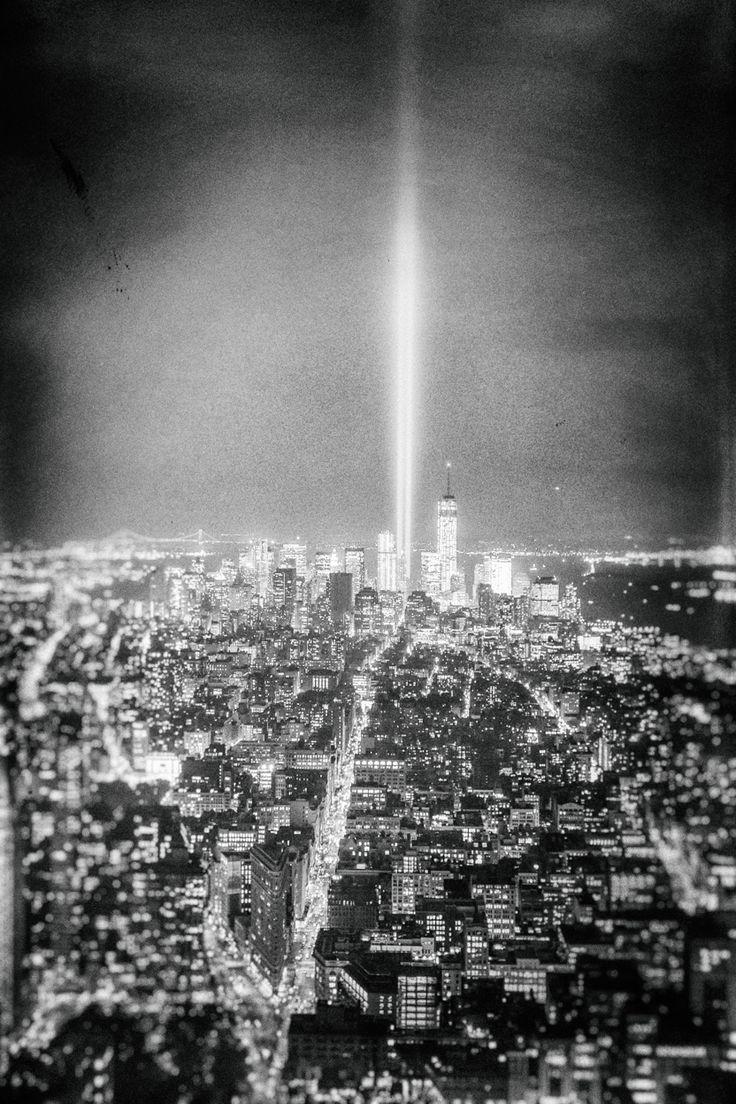 New York City - Tribute in Light - World Trade Center and New York City skyline at night on September 11
