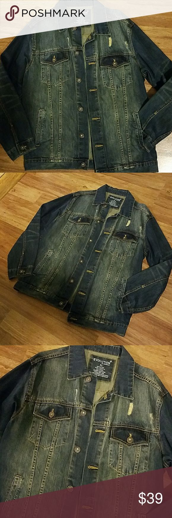 Evolution Denim Distressed Jeans Jacket XL Evolution Design Color Indigo Blue With Gold Stitching  Size XL with distressed design  2 front pockets / 2 chest pockets 100$ Cotton button down jacket Brand new without tags  MACHINE WASH WARM MADE IN PAKISTAN Evolution Jackets & Coats