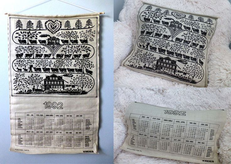 Excited to share this awesome Vintage Swiss Country Fabric Linen 1992 Calendar #artwallhanging #cushioncover #hipvintageart #collectibleprint #bohochicdecor #etsy #chicdevintage1 http://etsy.me/2FdqHio