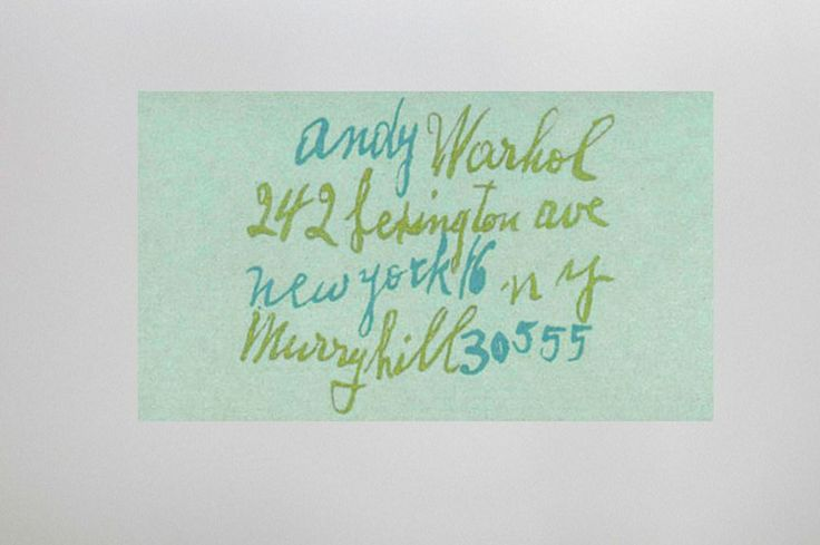 Andy Worhol's business card