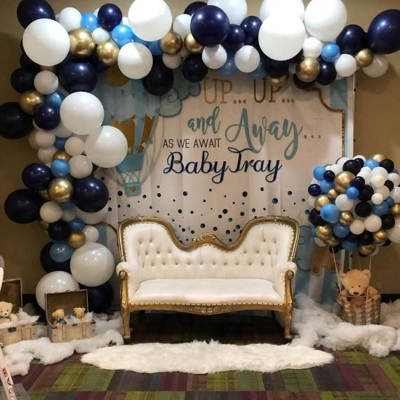 Balloon Garland Kit Navy Blue Light Blue Gold White Baby Shower