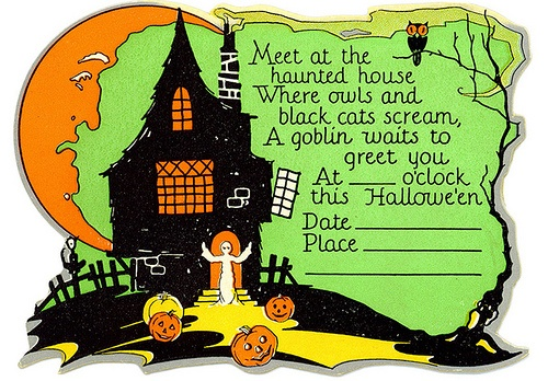 17 best images about vintage invitations on pinterest for Vintage halloween party invitations