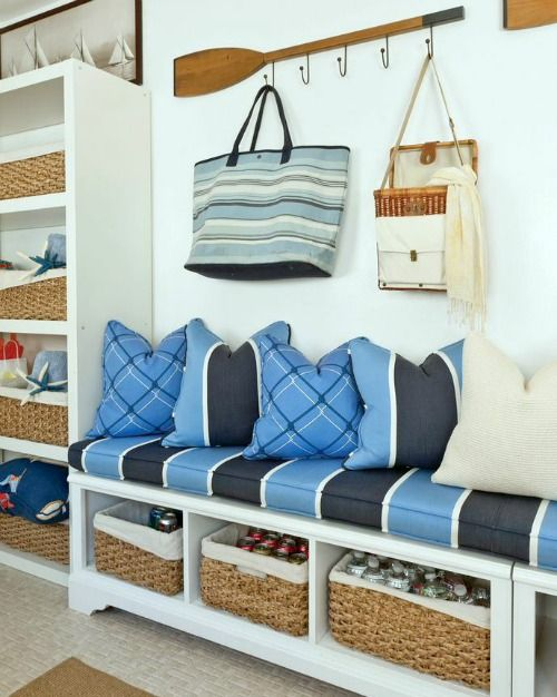 Nautical oar wardrobe and entryway.... http://www.completely-coastal.com/2016/10/simple-entryway-storage-ideas-with-benches.html