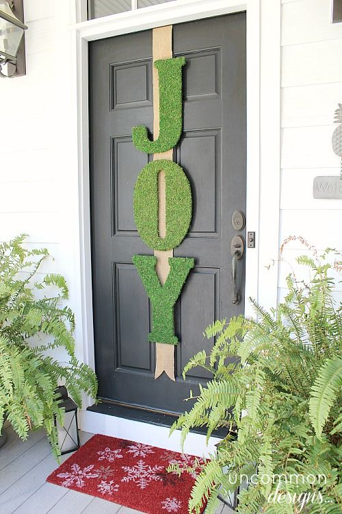 Garnet Hill Inspired DIY Moss JOY Letters ~ Holiday Door Decor  {Uncommon Designs}