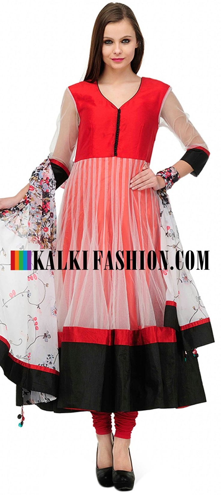 Buy Online from the link below. We ship worldwide (Free Shipping over US$100)  http://www.kalkifashion.com/red-solid-anarkali-suit-set.html