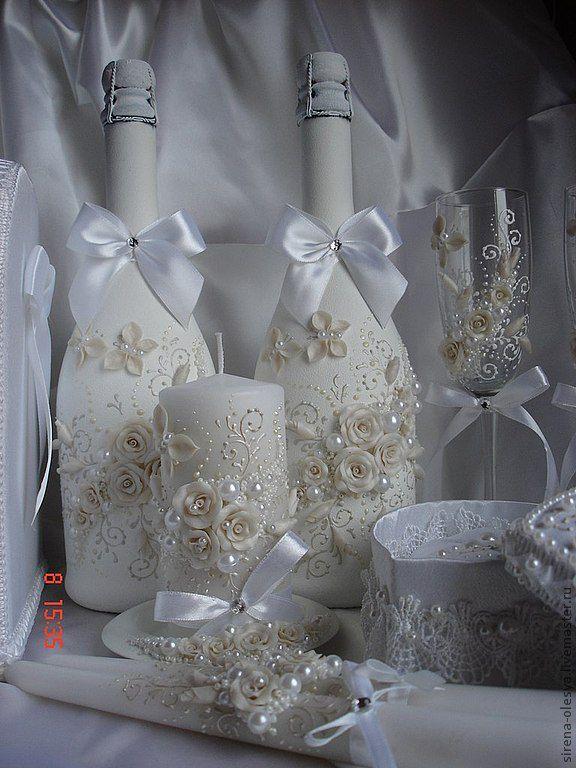Купить Оформление свадебного шампанского - белый, свадебное шампанское, шампанское на свадьбу, акрил