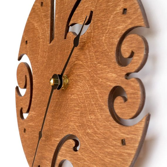 Large Wall Clock, Unique clock, Modern Clock, Wooden Wall Clock, Gift clock, Brown Wall Clock, Walnut wood clock  Our handmade with love wall clock will make a good accent for your kitchen, living room or office. Or may be a great gift to your loved ones and friends.   Your time will become happier with our clocks Take a look at more interesting models https://www.etsy.com/ru/shop/HappyTimeClock   DESCRIPTION & DIMENSIONS  This model has been laser cut from birch ...