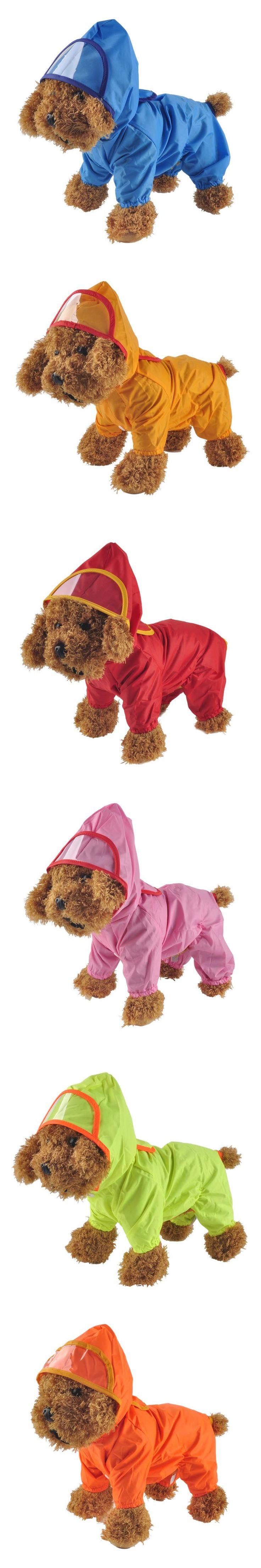 Pet Dog Hoody Jacket Rain Coat New Pets Dogs Solid Raincoat Clothes Slicker Jumpsuit Chubasqueros Para Perros Poncho Ropa Perro