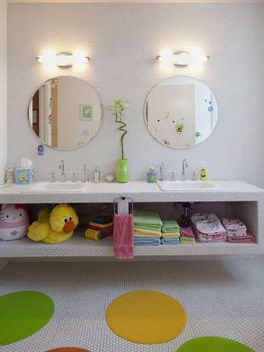 Déco salle de bain couleurs pastel pour enfant