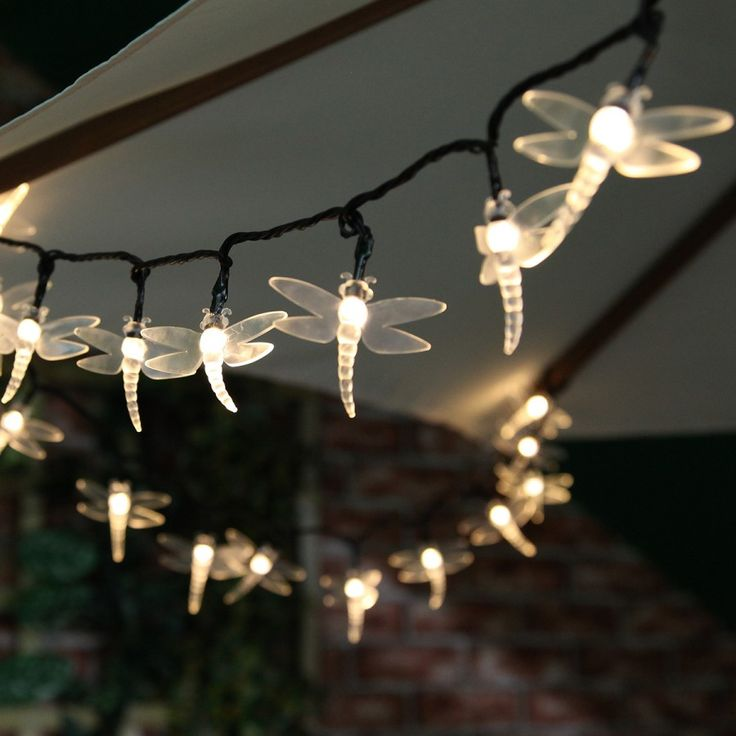 Solar Dragonfly Fairy Lights With Timer, 100 Warm White LED, 10m