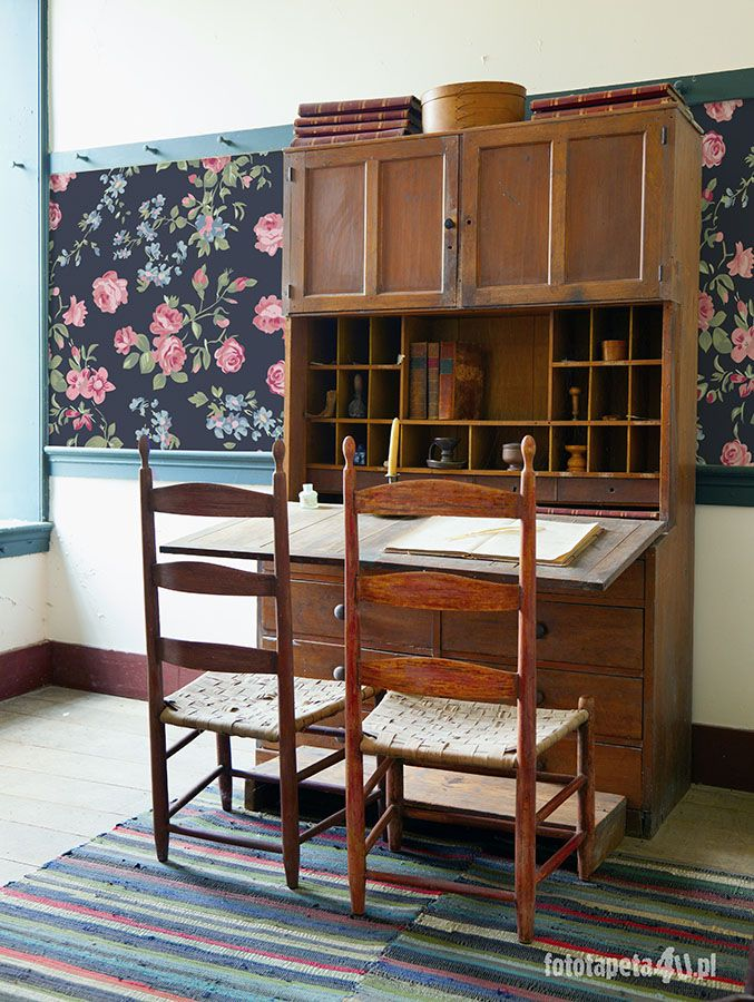 Vintage study with floral classic wallpaper